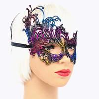 Wholesale phoenix masks resale online - New Arrrival Mysterious Angel Colors Phoenix mackn Sexy Mask Halloween Party Lace Masquerade Hollow Masque Fancy Dress Venetian Carnival