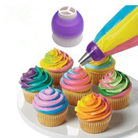 Wholesale Cupcake Decorating Bags - 3 Color Icing Piping Bag Nozzle Converter Tri-color Cream Coupler Cake Decorating Tools For Cupcake Fondant Cookie