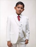 casaco de meninos venda por atacado-Personalizado Meninos Brancos Ternos Crianças Ternos para o Casamento Prom Set 3 Peças (Jacket + Pants + Vest) Formal Wear para Crianças Outfits