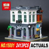 Wholesale bank models - New LEPIN 15001 2413Pcs Creator Brick Bank Model Building Kits Blocks Bricks Toy Compatible Boy Brithday Gift