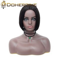 Wholesale medium length hair for women resale online - Indian Short Bob Lace Front Wigs Human Hair Natural Wave Indian Non remy Natural Black Pre Plucked Bleached Knots For Women