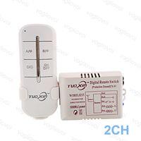 2-канальный радиочастотный передатчик оптовых-Переключатель приемник 2ch путь 220 В для Светодиодные потолочные панели лампы лампы цифровой РФ пульт дистанционного управления беспроводной передатчик пластиковые DHL