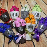 sevgililer için romantik çiçekler toptan satış-Yapay Gül Sabun Çiçek Hediye Kutuları Romantik Simülasyon Sabunlar Sevgililer Günü Hediyesi Için Lover Için Çift Noel 10zr BZ