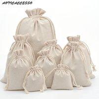 ingrosso mini sacchetti di lino-1pc sacchetto di cordoncino di viaggio borsa con coulisse fatta a mano puro cotone lino mini sacchetto di immagazzinaggio del sacchetto per il pacchetto regalo di Natale