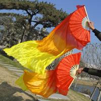 stage fan venda por atacado-16 Cores Chinês Tradicional Seda-como Dança Fãs Véus com Gradiente de Cor Palco Mostrar Adereços Long Fãs 1.2 m 1.5 m 1.8 m