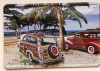 """Wholesale Vintage Beach Painting - RZXD-670 vintage metal painting""""Beautiful beaches and car""""plate fashion retro coffee bar decorative painting wall poster 20x30CM"""