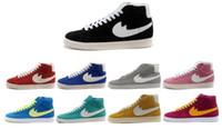 botas de piel de hombre al por mayor-Hombres Mujeres Blazer Zapatos Casuales Zapatos de skate de Corte Alto Descuento Clásico Campus Amantes Zapatillas de piel Botas de moda Tamaño: 36-44