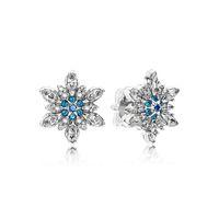925 silber sterling schneeflocke großhandel-Authentische 925 Sterling Silber Blaue Schneeflocken Ohrring Logo Unterschrift mit Kristall für Pandora Schmuck Ohrstecker Damen Ohrringe