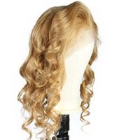 perruque blonde de cheveux humains achat en gros de-LIN MAN Blonde Perruque de cheveux humains péruvienne remy cheveux ondulés # 27 Couleur Dentelle Perruque Bébé cheveux Blanchis Noeuds