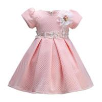 vestidos de meninas do bebê venda por atacado-Moda bebê menina vestido pequena princesa rosa vestidos de flores bebê crianças manga curta vestido de baile tutu