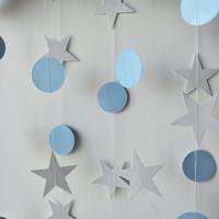 doğum günü balonları beyaz toptan satış-Bebek mavi 13 Ft Daire Beyaz Yıldız Balon Çelenk 2 adet Doğum Günü Partisi Süslemeleri Yetişkin Düğün Decro