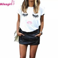 ingrosso tee labbra-Wholesale- Mileegirl Fashion T Shirt da donna, White Eyelashes Lips Print T-shirt, Summer loose Crew Neck a manica corta Top Femininas Blusas
