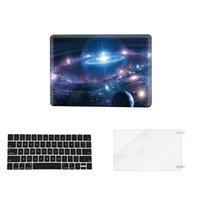 Wholesale laptop keyboard cover macbook pro - Starry Sky 3 in 1 Colorful matte Hard Case Plastic Keyboard Cover for macbook pro air laptop(1keycover+1case+1screen proctor)blue