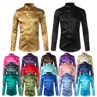 Wholesale men long sleeve shiny shirt - Silk Shirt Men 2017 Satin Smooth Men Solid Tuxedo Shirt Business Chemise Homme Casual Slim Fit Shiny Gold Wedding Dress Shirts
