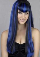 volle blaue sexy bilder großhandel-Sexy Frauen Vampir Cosplay Perücke Lange Gerade Kostüm Halloween Blau Schwarz Farbe 100% Nagelneu und Hohe Qualität Mode Bild volle Spitzeperücken