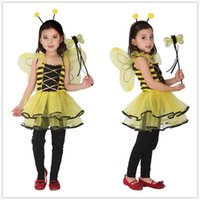 Wholesale stage clothes for children online - Children Kids Halloween Cosplay Costumes for Girls Animal Bee dress with Hair Sticks Cosplay Clothing for Boys Girls Stage show HC34