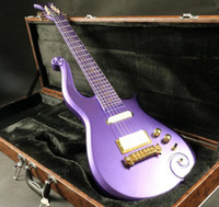 Wholesale guitar neck inlays for sale - Rare Schecter Diamond Series Prince Cloud Metallic Purple Electric Guitar Maple Body Neck Gold Symbol Inlay White pickup Brown Hardcase