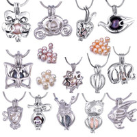 yıldız ayarı toptan satış-Silver Plated 6-7MM Rice Pearl Cage Pendant Mix Designs Animal Shape Set Apple Flower Star Interchangeable Own Stones Locket PP02