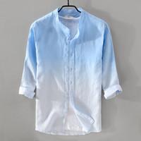 8eabec27e983 New style stand collar gradient blue shirt men linen breathable fashion men  shirts M-3XL three-quarter sleeve shirt male chemise. Supplier  stripe