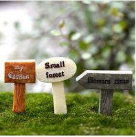 ingrosso segni giardino decor-3Pcs Cartello in resina bonsai Figurine Micro Landscape Artigianato cartello miniature fairy garden moss terrarium decor