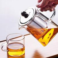 glashitzebeständige teekannensätze großhandel-Klare Borosilikatglas-Teekanne mit hitzebeständigem Loseblatt-Teekessel-Set aus Edelstahl-Infusionssieb