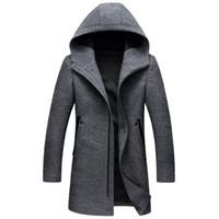 ingrosso inverno in lana di mens invernale-Nero Grigio Shanghai Story Autunno Inverno Nuovo Lungo con cappuccio da uomo Cappotti Cappotti di alta qualità Colori Mens giacca di lana
