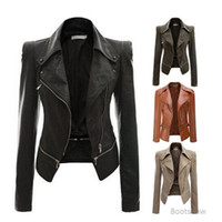Wholesale women outerwear - 2018 Autumn Women Faux Leather Jacket Slim Fit Motorcycle Jacket Zipper Casual Leather Coat Outerwear Women Clothing Size S XL