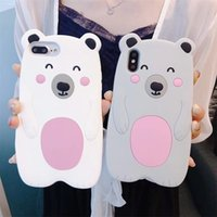 45abae5540 3D Cute Bear Phone Case For Iphone X XR XS MAX Soft Back Case Cover For  Iphone 6 7 8 Plus