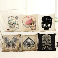 Wholesale head throw - New Skull Head Pillow Case 6 Styles Punk Skeletons Decorative Throw Pillowcase Cushion Cover Not Include Pillow