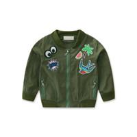 ingrosso giacca verde delle ragazze dell'esercito-2018 Girl's Army Green Jacket Cartoon stampato giacca per ragazze 2-7T Abbigliamento per bambini Autunno Capispalla Giacche a vento per le ragazze
