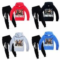 Wholesale girls clothing online - 4 colors Children cotton Clothing Sets Boys Girls Clothes Sets Fashion Fortnite Print Hoodie Pants Suits kids clothes MMA409