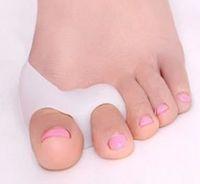 ingrosso gel due-Silicone Gel piede dita Two Hole Toe Separator Pollice Valgo Protector Borsite regolatore Alluce Valgo Guardia piedi cura