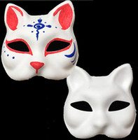 Wholesale hot cat woman costume for sale - Hot sell Unpainted Blank White Sexy Women Party Masks Masquerade Mask Venetian Cat Animal hand Cosplay Costume DIY Mask SN799