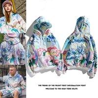 Wholesale painting lovers resale online - 18SS Lover Hip Hop Pullover Hooded Hoodies Teenager Watercolor Oil Painting Tie Dye Hoodie Sweatshirts Tops