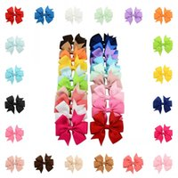 Wholesale Hair Clips Little Girl Ribbon - Handmade Baby V Rib Ribbon Bow Hairclips Hair Accessories 20 Colors For Little Girls Fashion Gift Support FBA Drop Shipping D489Q
