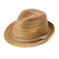 Wholesale roping hats - Autumn Stingy Brim Hats Colorful Pattern Parachute Rope Straw Hat Leisure Lash Bohemia Style Strawhat Cap With Rainbow 7ad jj