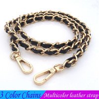 Wholesale metal accessories for bags - Bag shoulder straps wearable leather strap chain multicolor customize metal portable fashion chain accessories for evening bags and handbag