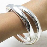 brazalete brazalete pulsera plata 925 al por mayor-Simple Chic 925 brazalete de plata esterlina moda brazaletes clásicos de moda para mujer moda nueva pulseras abiertas brazalete brazalete