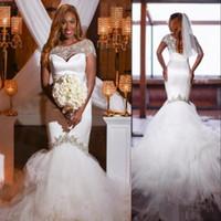 Wholesale Train Shawl Wedding Dress - 2018 Sweetheart African Wedding Dresses with Luxury Beaded Shawl Vestidos De Novia Zipper Back Long Sweep Mermiad Wedding Gowns