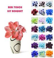 vase de fleurs toucher réel achat en gros de-2018 Ventes chaudes 50pcs MOQ Real Touch Lily Simulation Bouquets de fleurs de mariage Lis artificiel pour calla et décoration de la maison (pas de vase)