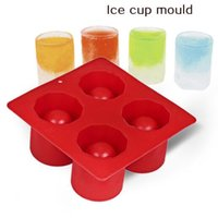 Wholesale ice tray cup - 4-Cup Ice Cube Shot Shape Silicone Shooters Glass Freeze Molds Maker Tray Party Bar Tools Ice Shot Glass Mold CCA9460 100pcs