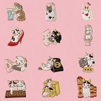 broş kedi toptan satış-Ücretsiz kargo 12 Adet / grup çanta gömlek jean aksesuarları metal emaye pisi kedi broş pin rozeti