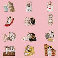 bolsas de accesorios gratis al por mayor-Envío gratis 12 UNIDS / lote camisas del bolso jean accesorios de metal esmalte gato gatito broche insignia