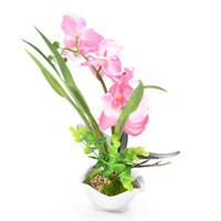 Wholesale bonsai watering for sale - Group buy New Design Pink Green Purple White Phalaenopsis Orchid Artificial Silk Flowers Head Simulation Phalaenopsis Bonsai Simulation Of Water