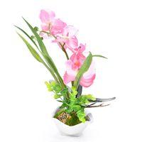 ingrosso orchidea di seta viola-Nuovo design rosa / verde / viola / bianco phalaenopsis orchidea fiori di seta artificiale 7 testa simulazione phalaenopsis bonsai simulazione di acqua