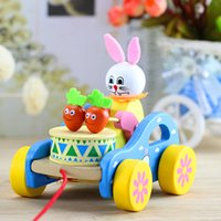 Wholesale dragging toys online - Rabbit Tractor With Line Children Kid Early Education Learn To Walk Dragging Wooden Baby Toy Animal fq V