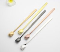 Stainless Steel Spoon Colorful Long Handle Spoons Flatware Coffee Drinking Ice Cream Tools Kitchen Gadget Spoon