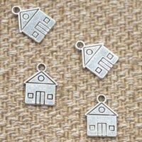 colgante 12x16mm al por mayor-25 unids / lote casa encantos tono de plata antiguo hogar escuela casa colgante 12x16mm