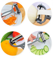 Wholesale plastic orange peelers - New Multifunctional 4 in 1 Rotary Peeler 360 Degree Carrot Potato Orange Opener Vegetable Fruit Slicer Cutter Kitchen Accessories Tools DHL