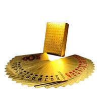 игральные карты с золотой фольгой оптовых-Покер карты позолоченные фольгой игральные карты пластиковые покер водонепроницаемый высокое качество местного золота водонепроницаемый ПЭТ / ПВХ общий стиль Оптовая